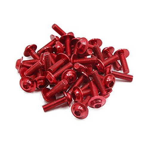sourcing map 40Pcs Tornillos M6 X 20 Aleación Aluminio Rojo Motocicleta Pernos de Cabeza Hexagonal