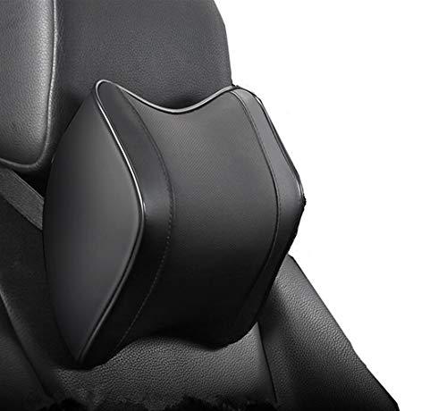Cuscino cervicale per auto per alleviare l'affaticamento del collo, 100% morbido memory foam, pelle PU, design ergonomico (nero)