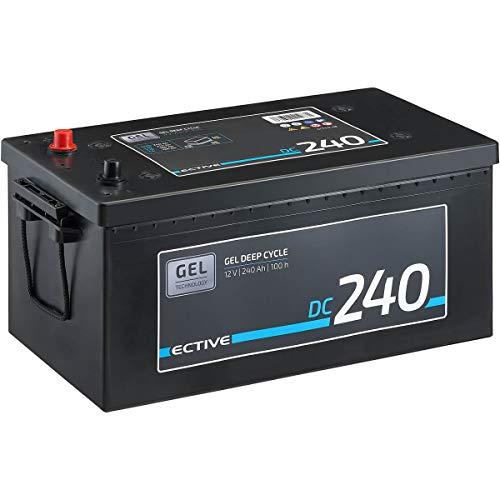 ECTIVE 240Ah 12V Gel Versorgungsbatterie DC 240 Gel Deep Cycle Solar-Batterie VRLA Zyklenfest in 2 Varianten (wartungsfrei)
