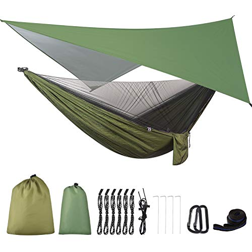 FIRINER Camping Hammock with Rain Fly Tarp and Mosquito Net Tent Tree Straps, Portable Single Double Nylon Parachute Hammock Rainfly Set for Backpacking Hiking Travel Yard Outdoor Activities