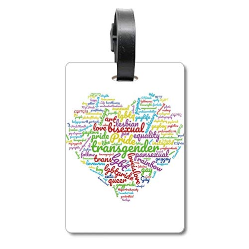 Love Heart Rainbow LGBT Wordcloud Suitcase Bag Tag Luggage Card Hanging Scutcheon Label