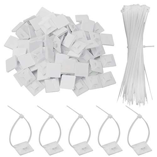 100 Stück Kabelbinder Set, Bolatus Selbstklebende Klebesockel für Kabelbinder Set Basishalter Kabelklemme Halter mit Mehrzweck-Kabelbinder(150 mm x 2,5 mm Weiß)