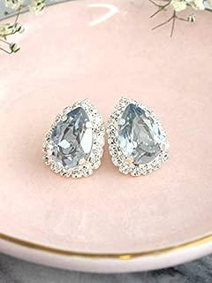 Bridal Dusty Blue Earrings, Gold or Silver Teardrop Stud Earrings, Swarovski Crystal Bridesmaids Gifts, Handmade Wedding Jewelry for Women, Something Blue