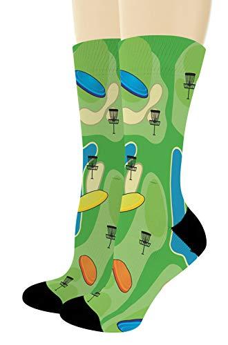 Disc Golf Gifts for Men and Women Disc Golf Socks Sports Themed Socks 1-Pair Novelty Crew Socks
