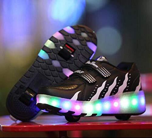 YURU Rollschuhschuhe , Led Light Rollschuhschuhe Für Kinderschuhe Two Wheels Luminous Sneakers , Kids Boys Girls,C-EU30