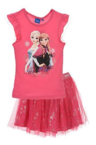 Eiskönigin T-Shirt und Rock als Set Anna und ELSA (Pink, Größe 104)