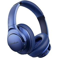 Cuffie Bluetooth Soundcore Life Q20, cuffie bluetooth over ear ANC, 30 ore di riproduzione, audio hi-res, bassi profondi, memory foam, cuffie sovrauricolari wireless da viaggio, lavoro e treno