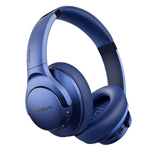 Anker Soundcore Life Q20 Hybrid Active Noise Cancelling Headphones, Wireless Over Ear Bluetooth Headphones, 40H Playtime, Hi-Res Audio, Deep Bass, Memory Foam Ear Cups, for Travel, Home Office (Blue)