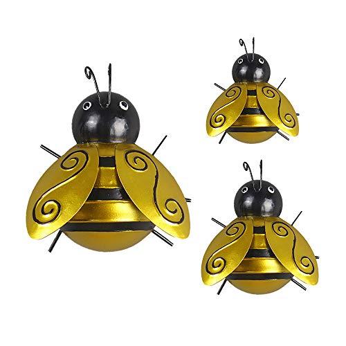 PATHD Décoration murale vintage en forme d'abeille en fer - Décoration murale en 3D - À suspendre en extérieur - Sculpture de jardin (1 set/3 pièces)