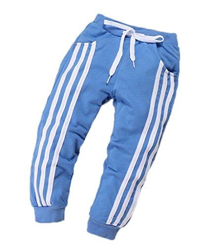 Bigood Enfant Printemps Automne Sport Pantalon Trois Rayures Jogging Azuré Size 100