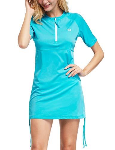 BALEAF Women's Short Sleeve Sun Protection Rash Guard Side Adjustable Swim Shirt Half-Zip Swimsuit Top Blue XL