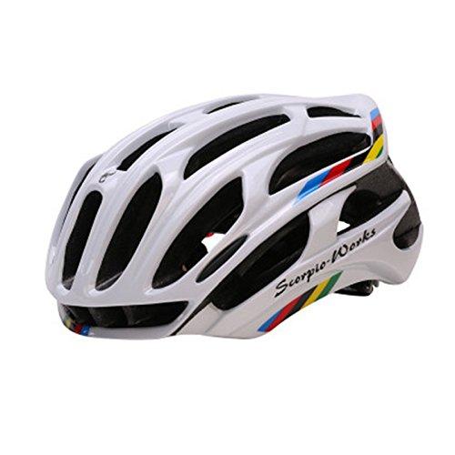 Ocamo Fahrradhelm mit LED-Lichtern Skaterhelm Erwachsene Helm Herren | Damen,Weiß bunt Einheitsgröße
