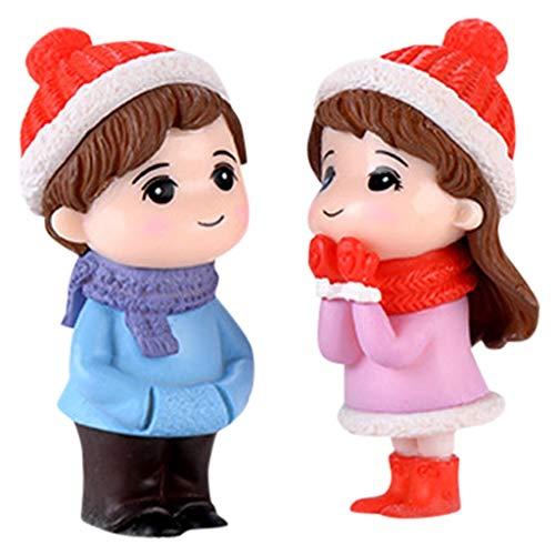 Comie Weihnachten Wohnaccessoires, Mini Paar Schneemann Statue Harz Kunsthandwerk Garten Miniatur Micro Landschaft Deco, Kreative Anhänger Weihnachts Dekoration