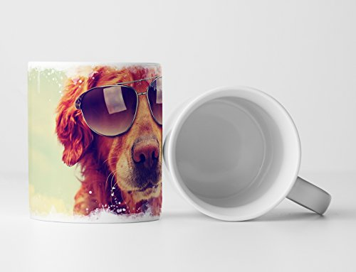 Eau Zone Fotokunst mok cadeau dierfotografie - Cooler Golden Retriever met zonnebril