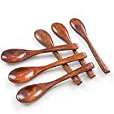 HANSGO Small Wooden Spoons, 6PCS Small Soup Spoons Serving Spoons Wooden Teaspoon for Coffee Tea Jam...