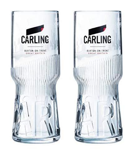 Carling Pint Gläser, 568 ml, mit 2 Bierdeckeln, 2 Stück
