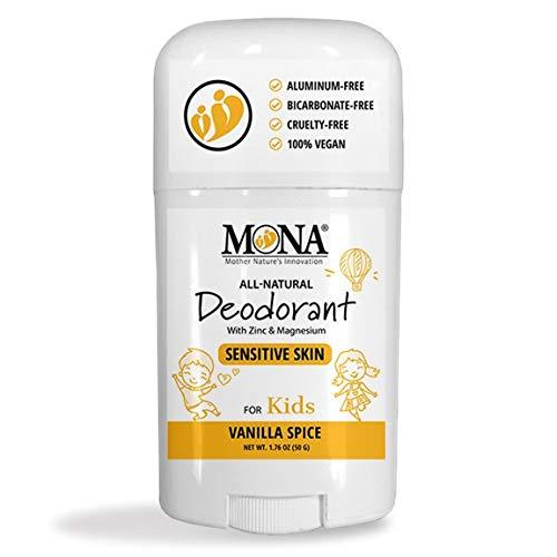 MONA BRANDS 100% Natural Deodorant for Kids   For Girls & Boys   Sensitive Skin   No Baking Soda   No Aluminum, Talc or Alcohol   Plant-based, Vegan, Non-GMO, Gluten & Cruelty free   VANILLA SPICE