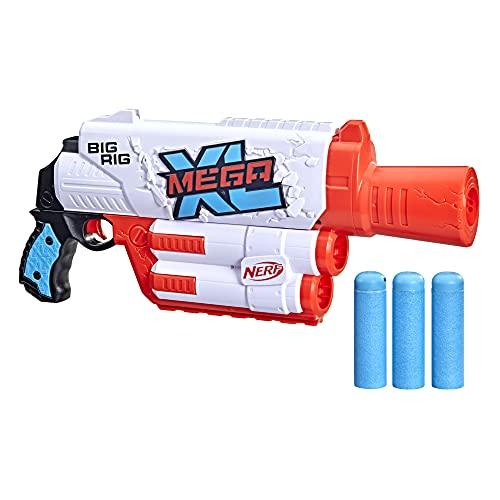 NERF Mega XL Big Rig Blaster, Largest Mega Darts Ever, 3 Mega XL Whistler Darts, XL Dart Blasting, Onboard Dart Storage