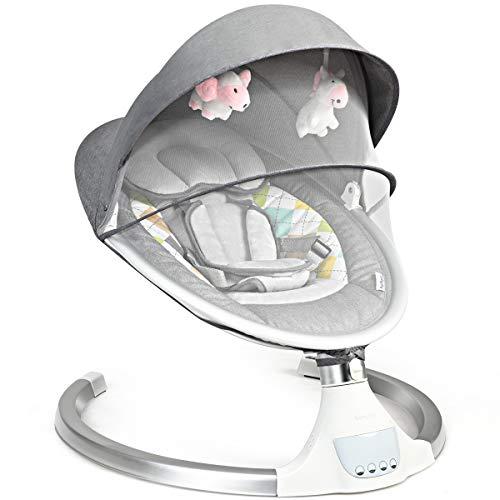 COSTWAY Babywippe mit 5 Schwingungsamplituden und Musik, Baby Schaukelstuhl mit Timing- und Bluetoothfunktion, inkl. Spielzeug, Fernbedienung, abnehmbares Verdeck und Moskitonetz (Modell 1)