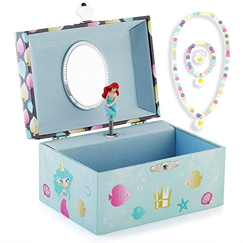 RR ROUND RICH DESIGN Kids Musical Jewelry Box for Girls and Jewelry Set with Lovely Mermaid Theme - Beautiful Dream Tune Blue