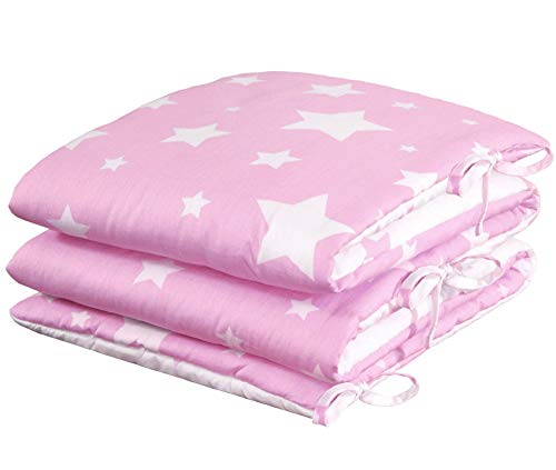 Nimsay Home Stars - Protector acolchado para cuna (100% algodón, 180 x 30 cm), color rosa
