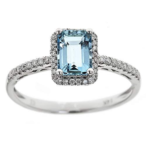 Gin & Grace Oro blanco 14K genuino Aguamarina Natural y de compromiso de diamantes promesa nupcial Proponen Promise Ring para la Mujer