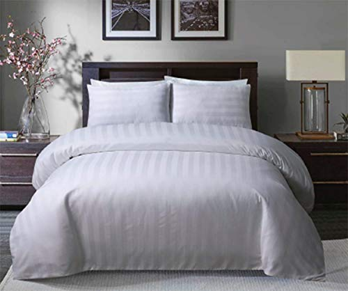 Sleepdown Soft Hotel Quality 225 THREAD COUNT POLYCOTTON Satin Stripe Duvet Cover Set With Pillowcases in White Colour(KIng)