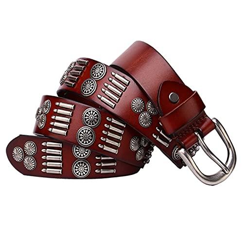 EDMKO Cinturón De Cuero Genuino Casual Cinturón Vintage con Remache Y Hebilla Aleación para Los Pantalones Vaqueros,Rojo,115cm