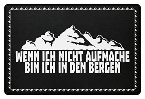 shirt-o-magic Wandern: .bin ich in den Bergen - Fußmatte -60x40cm-Schwarz