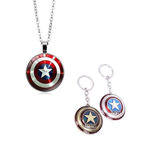 YouU 2 Pezzi Marvel Captain America Star Scudo Collana Pendente Vendicatori Super Hero e Portachiavi