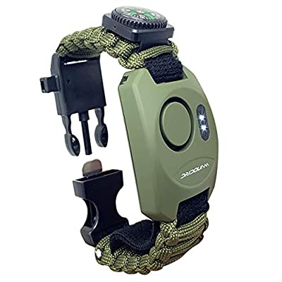 DRIDOUAM 8-in-1 Wrist Personal Alarm Paracord Survival Bracelet Self-Defense Emergency Security Survival Tool with SOS LED Flashlight Great for All Outdoor Sports, Green by DRIDOUAM