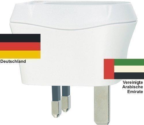 Design Reisestecker Adapter Vereingte Arabische Emirate auf Deutschland, Schukostecker 230V AE-D
