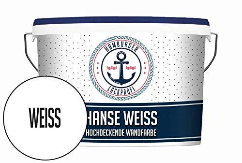 Hanse Wandfarbe weiß matt Innenfarbe Dispersionsfarbe HOCHDECKEND & GERUCHSARM (10 L)