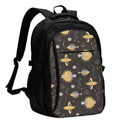 XCNGG Stylized Fishes Unisex Travel Laptop Backpack with USB Charging Port School Anti-Theft Bag