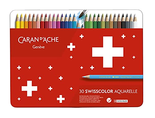 Caran d-Ache Swisscolor Aquarel 30's - Lápiz de color (Multicolor, Rojo)