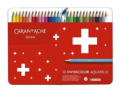 Caran d'ACHE - SWISSCOLOR Aquarelle Buntstifte in Metallbox - 30 Stück
