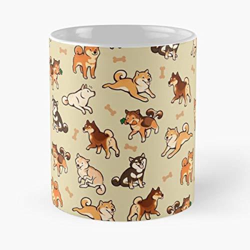 Dog Cute Inu Yellow Pattern Shiba DogsBest 11 oz Kaffeebecher - Nespresso Tassen Kaffee Motive