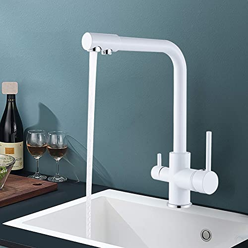RenXin Grifo de Alta presión de 3 vías, Grifo para Cocina, 2 Asas, Giratorio 360°, Sistema de Filtro, Color Blanco