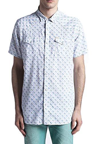Diesel Sulpher-Short Camicia Herren Hemd Kurzarm (XS, Weiß)