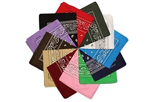 Boolavard 100% Baumwolle, 1er 6er, oder 12er Pack Bandanas mit original Paisley Musteropf Bindung (Schwarz, Rot, Blau, Weiß, etc.) (12er Gemischt Mehrfarbig 2)