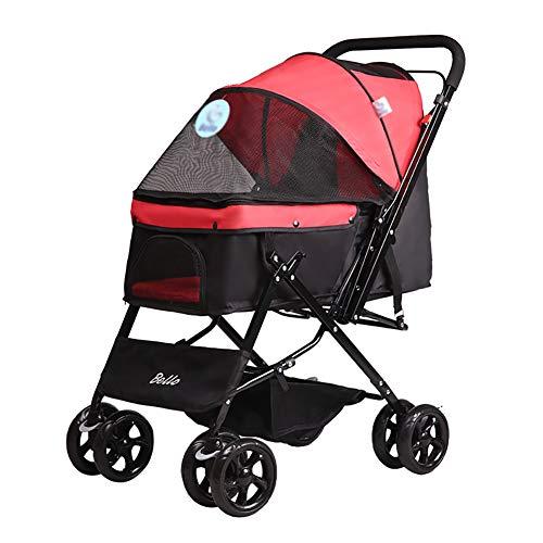 GUO@ Haustier-Spaziergänger, faltbare vierrädrige Laufkatz-Suspendierungs-Austausch-Katze und Hundekorb-großes Reise-Versorgungsmaterialien Heimtierbedarf und Kinderwagen ( Farbe : Red )