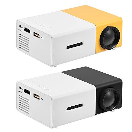 Gaeirt 1080P Mini proyector HD Home Theater Reproductor Multimedia portátil con proyector LED 4: 3, Puerto de Entrada: AV/USB/HDMI/Tarjeta de Memoria, para TV Box(Versión con batería Amarilla)
