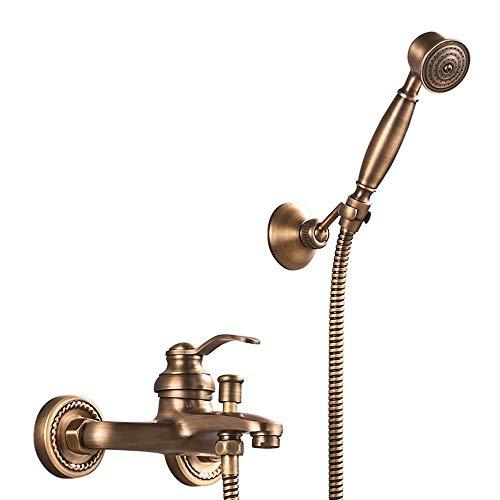 HomeLava Badewannenarmatur Wannenarmatur Retro Messing Badewanne Mischbatterie mit Handbrause und manuellen Umsteller Wandmontage Wasserhahn Bad Dusche Armaturen Set