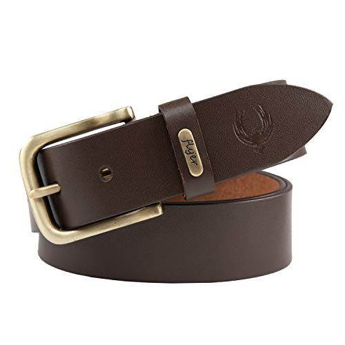 Flyer Men's Leather Belt (Formal/Casual) Branded (Colour -Brown) (Size -44) Stylish Buckle Adjustable Size Genuine Quality