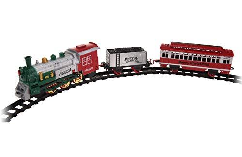 Weihnachtszug XXL 122x84 cm - 23-teilig mit Licht - spielt Weihnachtsmusik - Mini Zug zu Weihnachten Eisenbahn mit Lokomotive, 2 Waggons und 20 Schienen