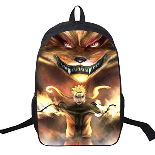 WANHONGYUE Naruto Anime Image Backpack Cartable Sac d'école Étudiant Sac à Dos de Loisirs pour Filles Garçons /3