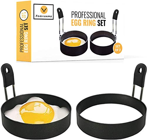 JORDIGAMO Professional Egg Ring Set For Frying Or Shaping Eggs - Round Egg Rings For Cooking - Stainless Steel Non Stick Mold Shaper Circles For Fried Egg McMuffin Sandwiches - Egg Maker Molds