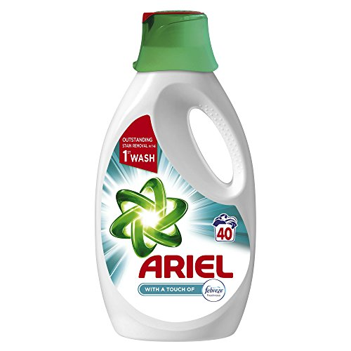 Ariel Washing Liquid, Touch of Febreze, 2 Litre, 40 Washes, Removes Stains in One Wash and Fine Cleaning