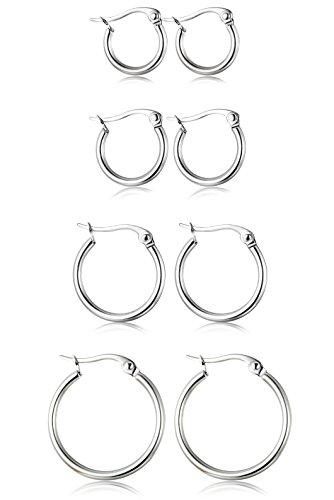 ORAZIO 4 Pairs Stainless Steel Hoop Earrings Set Cute Huggie Earrings for Women,Silver-Tone,10MM-20MM