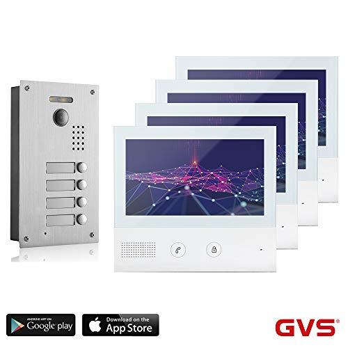 GVS 2-Draht/IP Video Türsprechanlage, 4 Familienhaus Set, Handy-App, 4X 7 Zoll Monitor, Tür-Öffner, Foto-/Video-Speicher, Türstation, 2 MP Kamera, 170° Erfassungswinkel, AVS7038-7071-44